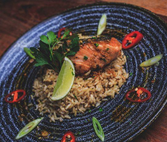 teryaki salmon and rice